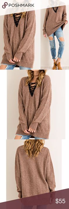 """🆕 Mocha V-neck sweater tunic top with lace up Melange sweater top featuring contrast scooped V-neck with lace-up detail Rib on sleeve cuff and bottom hem Non-sheer Knit Lightweight Unlined Has stretch   Fabric: 70% acrylic, 20%polyester, 10% cotton   Measurements:  Small: Size 2/4 Armpit to Armpit: 21"""" Length : 27""""  Medium: Size 6/8 Armpit to Armpit: 22"""" Length : 27.5""""  Large: Size 10/12 Armpit to Armpit: 23"""""""" Length : 27.5"""" Pink Peplum Boutique Sweaters V-Necks"""