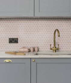yoga penny porcelain wall tile by ca'pietra has a raku glaze and mosaic style in a number of colours Kitchen Splashback Tiles, Mosaic Bathroom, Master Bathroom, Mosaic Wall, Wall Tiles, Blush Bathroom, Pink Bathroom Tiles, Sheila E, Pink Tiles