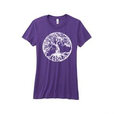 Womens tee tshirt tree of life Tree Of Life Quotes, Woman Yoga, Tee Shirts, Tees, Purple, Cotton, Mens Tops, Clothes, Women