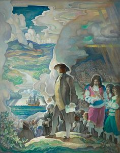 """N.C. Wyeth (American): Oil Painting, """"William Penn, Man of Vision - Courage - Action"""" (1933) [Brandywine River Museum of Art, Chadds Ford, Penn.]"""