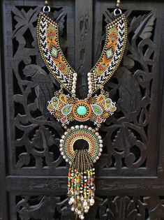 Bead Embroidery Necklace with African Trade Beads, Tribal Necklace, Boho Necklace