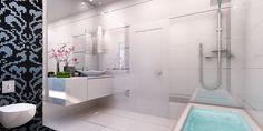 3D Bathroom Architecture Renders. Bathtub, 3d, Bathroom, Architecture, Standing Bath, Washroom, Arquitetura, Bathtubs, Bath Tube