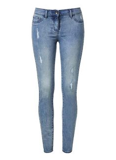 Cotton/Elastane Blue Wash Jean. Neat fitting, slim style featuring true denim fabrication texture with ripped effect at front. Available in Mid Blue as seen below.
