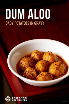 Dum Aloo is a delicious recipe of baby potatoes cooked in a gravy or sauce. 2 variations are fully explained: Kashmiri Dum Aloo and restaurant style Dum Aloo. Aloo Recipes, Veg Recipes, Curry Recipes, Indian Food Recipes, Ethnic Recipes, Easy Vegetarian Curry, Vegetarian Recipes Easy, Baby Potatoes, Indian Curry