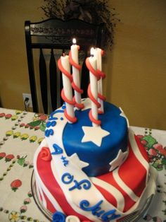 Fourth of July stars and stripes tiered birthday cake . Dianne i will start working on this now lol July Birthday, Birthday Parties, Birthday Cake, Candy Cakes, Cupcake Cakes, Cupcakes, Fourth Of July Cakes, July 4th, City Cake