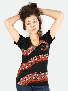 Need a hug? Octohug Women's Deep V-Neck tshirt from Sharp Shirter