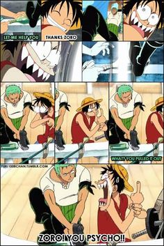 Zoro is always trying to solve problems by cutting through.  He even tried to free his self from wax, by cutting off his own legs.