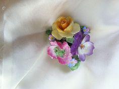 Coalport China England Vintage Primrose, Dianthus, & Rose Floral Pin Brooch in | eBay..golfer_girl_ish