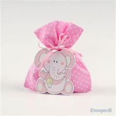Simpático elefante rosa que acompaña a un saquito de 5 peladillas. Ideal para el bautizo de los más pequeños.
