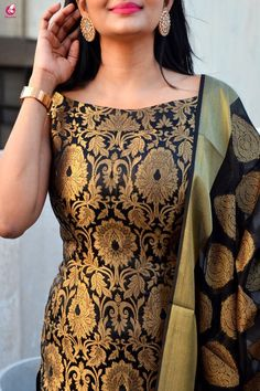 Buy Black Brocade Padded off Shoulder Kurta with Pants and Dupatta Online in India Simple Kurta Designs, Kurta Designs Women, Simple Indian Suits, Silk Dress Design, Dress Indian Style, Indian Dresses, Kurta Neck Design, Indian Designer Suits, Kurta With Pants