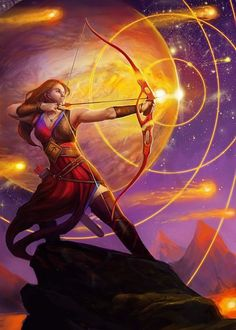 Julie Dillon (born in is an American artist living and working in Northern California specializing in science fiction and fantasy art. Full Moon In Sagittarius, Sagittarius Art, Fantasy Women, Fantasy Art, Astrology Calendar, Tarot, Galactic Center, Saggitarius, Zodiac Art