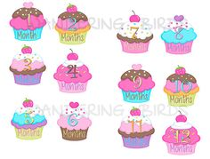 Cupcakes Monthly stickers Printable Digital by WanderingBirds, $4.00