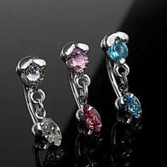 16g Round & Oval CZ Eyebrow Dangle