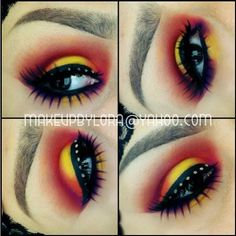The amazing Loreleicakes used Sugarpill Burning Heart palette and Angel Baby false eyelashes (bottom) to create this fun, colorful look. The top lashes are Ardell and Sugarpill stacked!