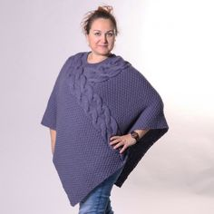 A poncho filled with power! This poncho has beautiful cable work and is knitted in our Woolpower yarn on a needle size 5 mm (US Poncho Shawl, Knitted Poncho, Needles Sizes, Crochet Projects, Knit Crochet, Poncho Patterns, Pullover, Sweaters, Shawls