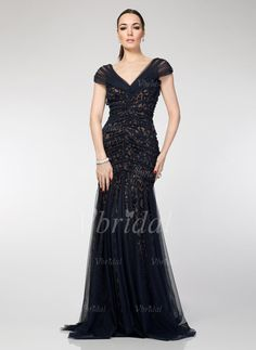 Evening Dresses - $129.99 - Trumpet/Mermaid V-neck Sweep Train Tulle Lace Evening Dress With Ruffle (0175056119)