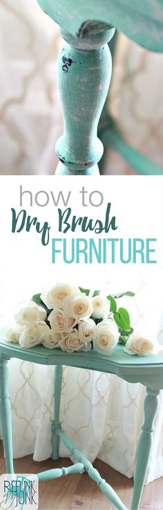 how to dry brush furniture painting technique. Furniture painting tips and tutorial by Refunk My Junk. Using Heirloom Tradition's Privilege and Row House. Distressed Furniture Painting, Painted Bedroom Furniture, Chalk Paint Furniture, Repurposed Furniture, Furniture Projects, Furniture Makeover, Diy Furniture, Diy Projects, House Furniture