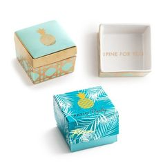 Rosanna 'I Pine For You' Porcelain Trinket Box ($24) ❤ liked on Polyvore featuring home, home decor, small item storage, porcelain trinket box, inspirational home decor and tropical home decor