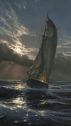 Sailing across the ocean reminds me of a souls journey. A sacred wind that soars within my era both peaceful and disturbed,surrounded by light and dark in this wicked realm. Ship Paintings, Seascape Paintings, Landscape Art, Landscape Paintings, Old Sailing Ships, Sailboat Painting, Boat Art, Ship Art, Tall Ships