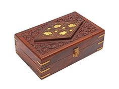 Diwali Gifts Hand Carved Decorative Wooden Jewelry Trinket Holder Organizer Keepsake Storage Box Chest with Brass Inlay * You can get additional details at the image link.