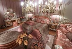 Pink Classic Style Italian Bedroom - Top and Best Classic Furniture and interior Design in Italy