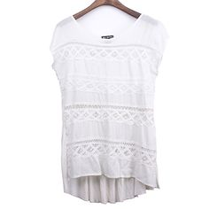 Macrame Embellished Woven Knit Combined Top