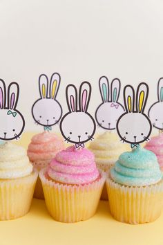 FREE printable bunny cupcake toppers, perfect for all your Easter treats  |  Tell Love and Party