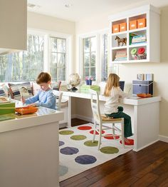 """Art Idea for a kitchen nook or different use of a formal dining room """"Let your kitchen nook double as a home office by adding slender tables along opposite walls with a cozy couch between. This family-focused wing takes advantage of the room's natural light"""" kid-stuff-and-room-ideas"""
