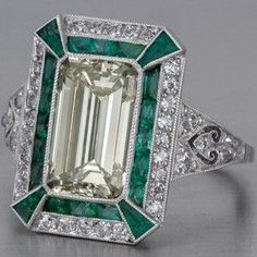 Art Deco Emerald and Emerald Cut Diamond Ring
