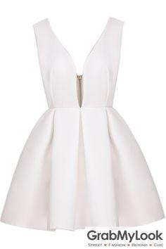 GrabMyLook White Backless Midriff Flare V Neck Zipper Dress