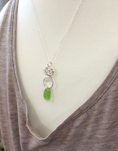 Lime Green Sea Glass Lotus Charm Necklace