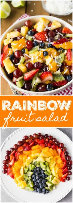 "Healthy Recipes : Illustration Description Rainbow Fruit Salad – So fresh and vibrant! This simple fruit salad is packed full of natural sweetness. ""Life begins at the end of your comfort zone"" ! Best Salad Recipes, Fruit Salad Recipes, Healthy Recipes, Fruit Salads, Savory Salads, Healthy Meals, Delicious Recipes, Healthy Food, Yummy Food"