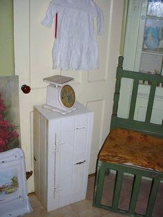 Antique Farmhouse Cupboard Old Paint Chippy Cottage Chic White Storage Cabinet