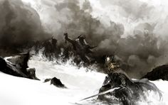Battle in the snow. Guild Wars 2 By Kekai Kotaki