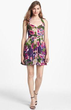 Nicole Miller Floral Print Fit & Flare Dress