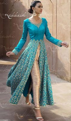 Be the center of attention by sporting this blue color embroidered silk and net Anarkali pant suit. Beautified with lace and resham work. #amazingembroideredanarkali #cropstraightcutanarkalis #pantstyleanarkalisuit