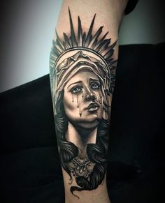 Absolutely stunning rendition of the Weeping Virgin Mary statue by on our girl 🖤🔥 Forearm Sleeve Tattoos, Leg Tattoos, Tatoos, Mary Tattoo, Tattoo Ideas, Tattoo Designs, Virgin Mary Statue, Statue Tattoo, Religious Tattoos