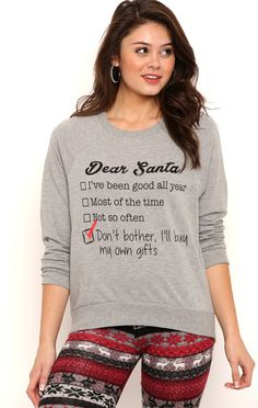 Deb Shops Long Sleeve French Terry Top with Dear Santa Screen $12.30