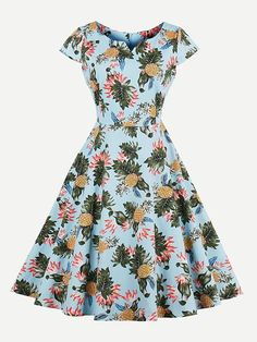Shop Random Pineapple Print V Cut Swing Dress online. SheIn offers Random Pineapple Print V Cut Swing Dress & more to fit your fashionable needs.