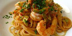Receta de espaguetis con gambas, facil, rapida y muy buena - El Aderezo - Blog de Recetas de Cocina