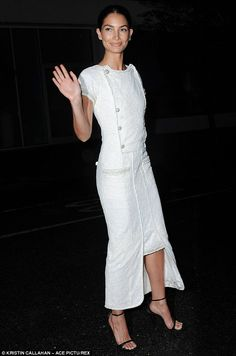 Sense of style: On Monday the mother-of-one wore a beautiful ankle-length dress with black...