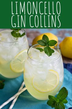 Limoncello Gin Collins Cocktail Recipe - A Nerd Cooks - - This Limoncello Gin Collins is fizzy and refreshing, with a prominent lemon flavor. Minty simple syrup balances the lemon tartness. Gin Recipes, Gin Cocktail Recipes, Alcohol Drink Recipes, Cocktail Drinks, Fun Drinks, Alcoholic Drinks Gin, Beverages, Orange Recipes, Gin Collins