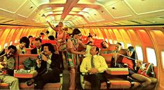 Braniff Airlines..we always flew Braniff or Pan Am on the way to Panama.  The planes were bright colors and look at how spacious the seats were!