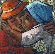 """587 - NIEMANN, HENDRIK CHRISTIAAN (HENNIE) (SA 1941 - ) Oil on board, """"The Kiss"""", signed & dated '07, (36 x 37cm) Abstract Art, Kiss, Board, A Kiss, Kisses"""