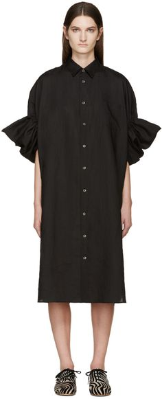 Junya Watanabe: Black Ruffled Linen Shirt Dress | SSENSE