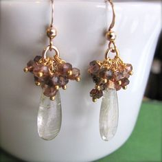 Rutilated Quartz Earrings with Andalusite by IntuitiveJewellery, $56.00