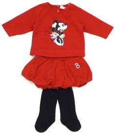 We ♥ #MinnieMouse! Unsere #KombiDerWoche mit Ballonrock von #Benetton und Langarmshirt von #Disney by #Monnalisa mit Strumpfhose von #Döll in Gr. 62-68