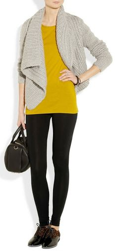 Outfit Posts: outfit posts: grey boyfriend cardigan, mustard shirt, black 'editor' pants