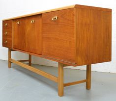Mid Century Teak Sideboard with Brass Pull Handles 1960s