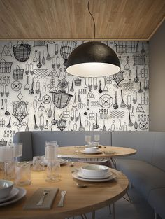 You simply can't go wrong with our Wirefull designer wallpaper, a stunning constellation of wire kitchen utensils and accessories stretched across your wall